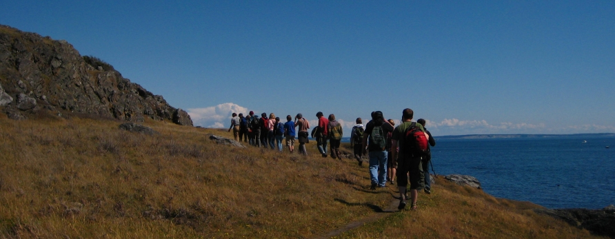 Students walking on Lopez Island field trip
