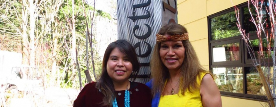AIS faculty Clarita Lefthand-Begay and Charlotte Coté at the wǝɫǝbʔaltxʷ opening ceremony