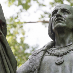 A statue of Christopher Columbus defaced in New York City's Central Park