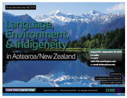 Flyer for Aotearoa study abroad with picture of New Zealand mountains