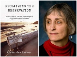 Book Cover Reclaiming the Reservation with photo of Professor Harmon