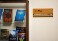 American Indian Studies bookcase with faculty research