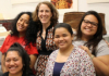 Professor Holly Barker with several of her students