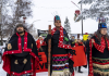 Wet'suwet'en hereditary chiefs, from left, Rob Alfred, John Ridsdale (Na'Moks) and Antoinette Austin, rally in support of the Wet'suwet'en Nation in Smithers, B.C., on Jan. 10, 2020.