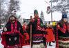 Wet'suwet'en hereditary chiefs, from left, Rob Alfred, John Ridsdale (Na'Moks) and Antoinette Austin, rally in support of the Wet'suwet'en Nation in Smithers, B.C., on Jan. 10, 2020.